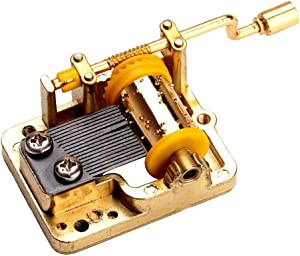 18 Note Musical Mechanism Movement for DIY Music Box, Over The Rainbow, Golden Handcrank Music Movement