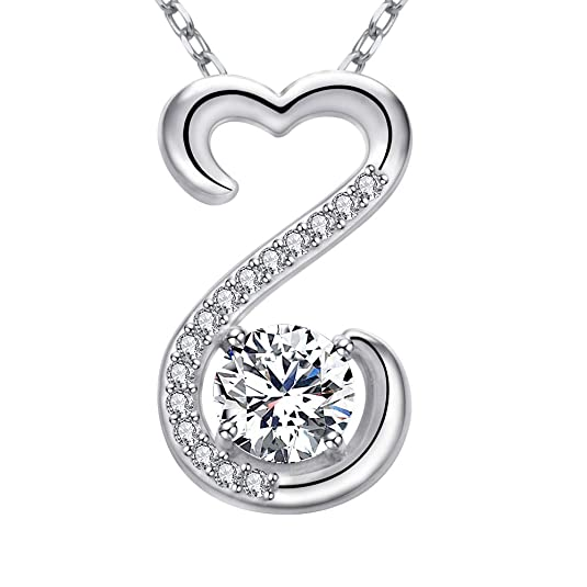 Apotie 925 Sterling Silver Charm Infinity Open Heart with White CZ Charm Pendant Necklace Long Chain Gift Jewelry for Women