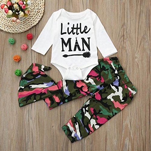 Longra 3 Stücke Neugeborenes Baby Jungen Brief Strampler Tops + Hosen Cap Unisex Baby Camouflage Bekleidungssets Bodys & Hosen Sets White