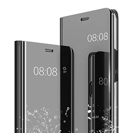 outlet store 96dde 8d138 AEETZ, Redmi Note 6 Pro Luxury Mirror Flip Clear View with Stand Flip Case  Cover for Redmi Note 6 Pro - Black