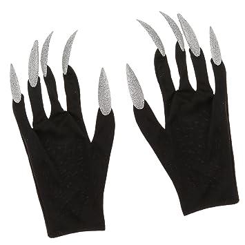 MagiDeal Schwarz Handschuhe mit Lange Silber Fingernägel