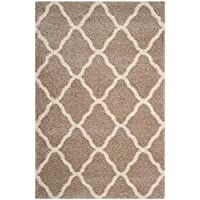 Safavieh Hudson Shag Collection SGH283S Beige and Ivory Moroccan Geometric Area Rug (6 x 9)