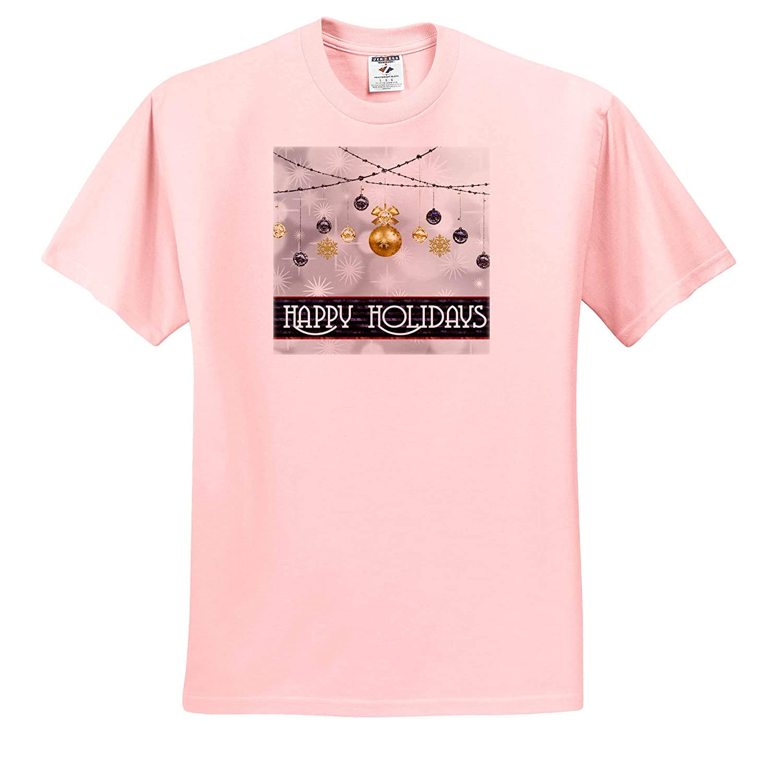 3dRose Sven Herkenrath Christmas Adult T-Shirt XL ts/_319694 Happy Holidays for Christmas Balls and Gifts Snowflake