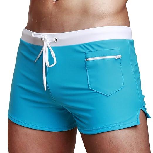 5daf11ad61 Amazon.com  Vogyal Men s Swimwear Shorts Swimming Trunks Swimsuit  Boardshorts with Zipper Pocket Blue  Clothing