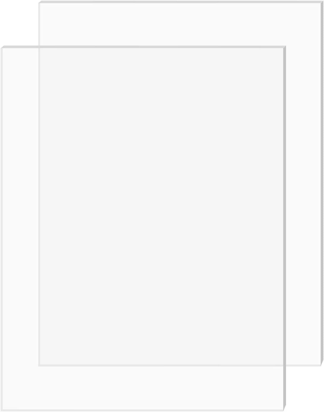 "SimbaLux Acrylic Sheet Clear Cast Plexiglass 5"" x 7"" 0.08"" Thick (2mm) Pack of 2 Transparent Plastic Plexi Glass Board with Protective Paper for Photo Frame Replacement, DIY Display Projects, Craft"