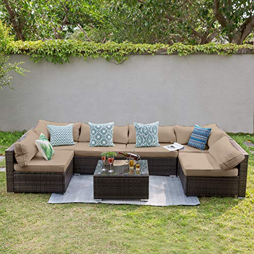 Tribesigns 7 PCS Outdoor Patio Furniture Sectional Sofa Set, Extra Large Wicker Sofa Rattan Couch Conversation Set with Waterproof Cushions for Garden, Porch, Backyard, Lawn, Poolside (Brown)