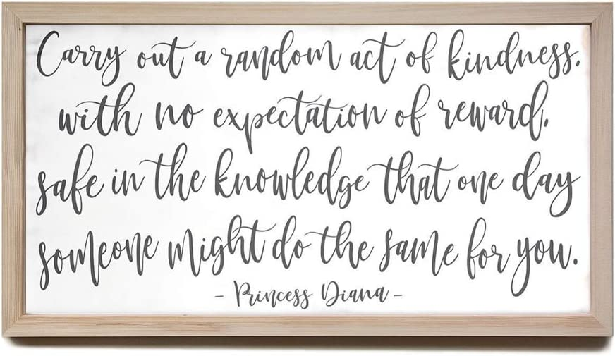 EricauBird Wood Sign Carry Out A Random Act of Kindness Princess Diana Farmhouse Wood Sign,Decorative Home Wall Art,12x22