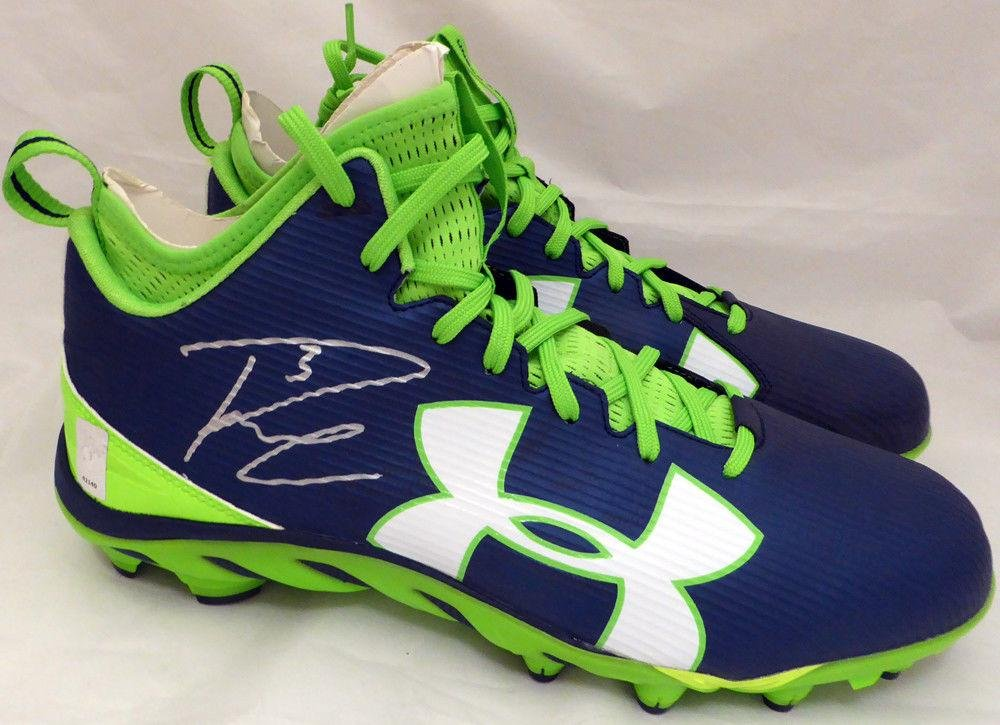 Russell Wilson Autographed Signed Under Armour Cleats Seahawks RW Holo 42140 Autographed NFL Cleats