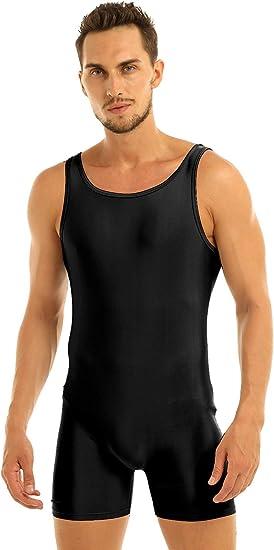 FEESHOW Mens Lycra Spandex Bodysuit Workout Dance Biketard Unitard Short Tank Dancewear