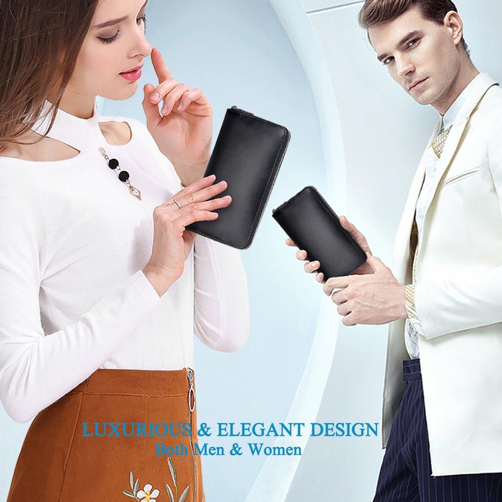 RFID Blocking Leather Wallet 36 Slots Card Holder Large Zipper Purse for Women/Men (Black) by Szezon (Image #7)