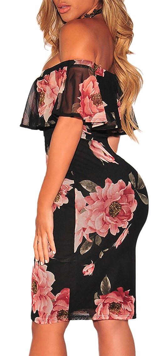 MYWY - Abito corto vestito donna elegante aderente fantasia floreale spalle  nude sexy  Amazon.it  Abbigliamento c08cf10fdad