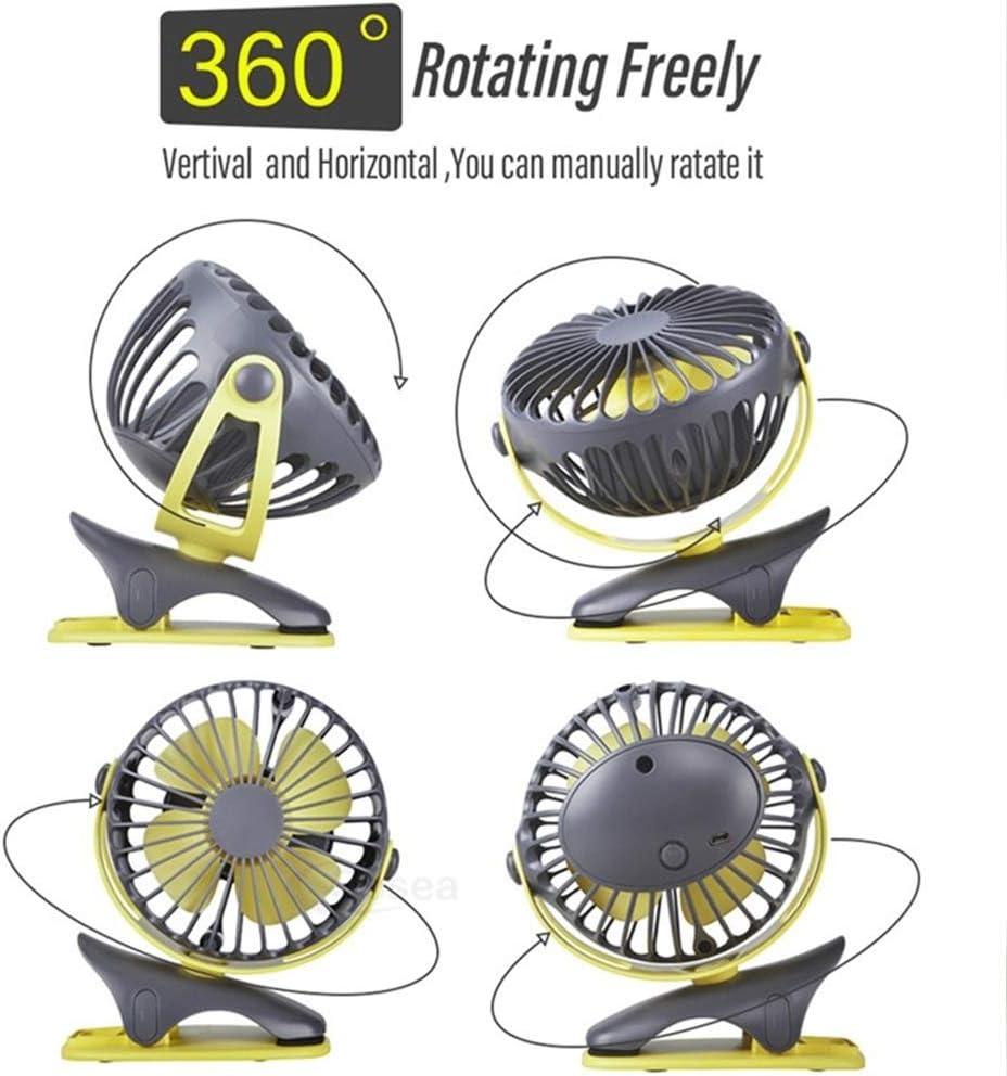 Color : Black XIANGNAIZUI Portable Cooling Mini USB Fan 4 Speeds 360 Degree All-Round Rotation Rechargeable Air Fan USB Charging Desktop Clip Fan 4000mAh
