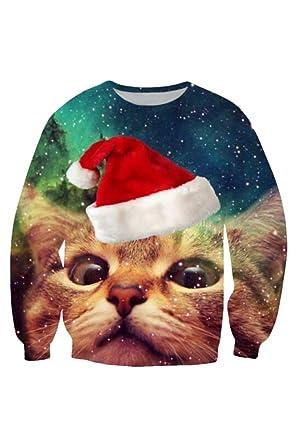 10d0fe66b7 Kisscy Women s Crew Neck Long Sleeve Galaxy Cat Print Ugly Christmas  Sweatshirt Sweater Pullover S