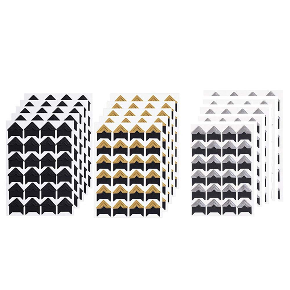 MUXItrade 15 Fogli Foto Angoli Autoadesivo Montaggio Adesivi di Foto Adesivi d'Angolo di Carta per Scrapbooking Album Diario, Nero e Oro
