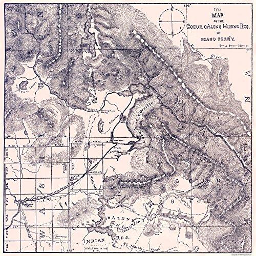 Old Mining Map   Coeur Mining Region Idaho   1885   23 X 23   Matte Canvas