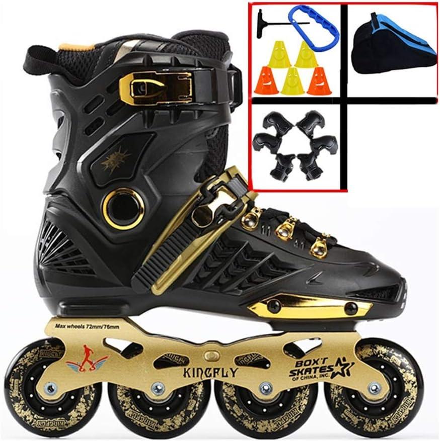 TKW 大人のインラインスケート靴、初心者ユースローラーブレード、屋外レクリエーションインラインローラースケート靴、ブラックホワイトゴールド (Color : ゴールド, Size : EU 40/US 7.5/UK 6.5/JP 25cm) ゴールド EU 40/US 7.5/UK 6.5/JP 25cm