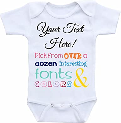 f444180d5558 Amazon.com  Promini Funny Personalized Baby Bodysuit Cute Infant One ...