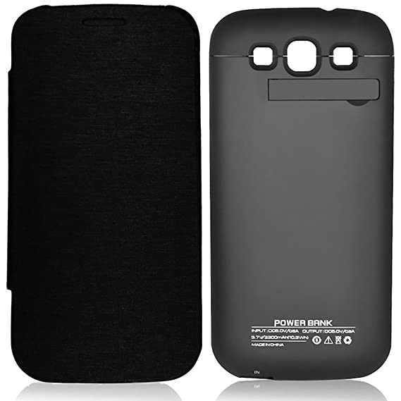 brand new 53973 19c61 Zeox Samsung Galaxy S3 Rechargeable External Backup Battery Case 3200 mAh  Power Built in Battery With Media Kick Stand For Samsung Galaxy S3 i9300 -  ...