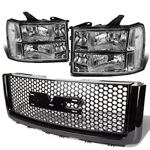 For GMC Sierra GMT900 Pair of Chrome Housing Clear Corner Headlight+Black Front Grille
