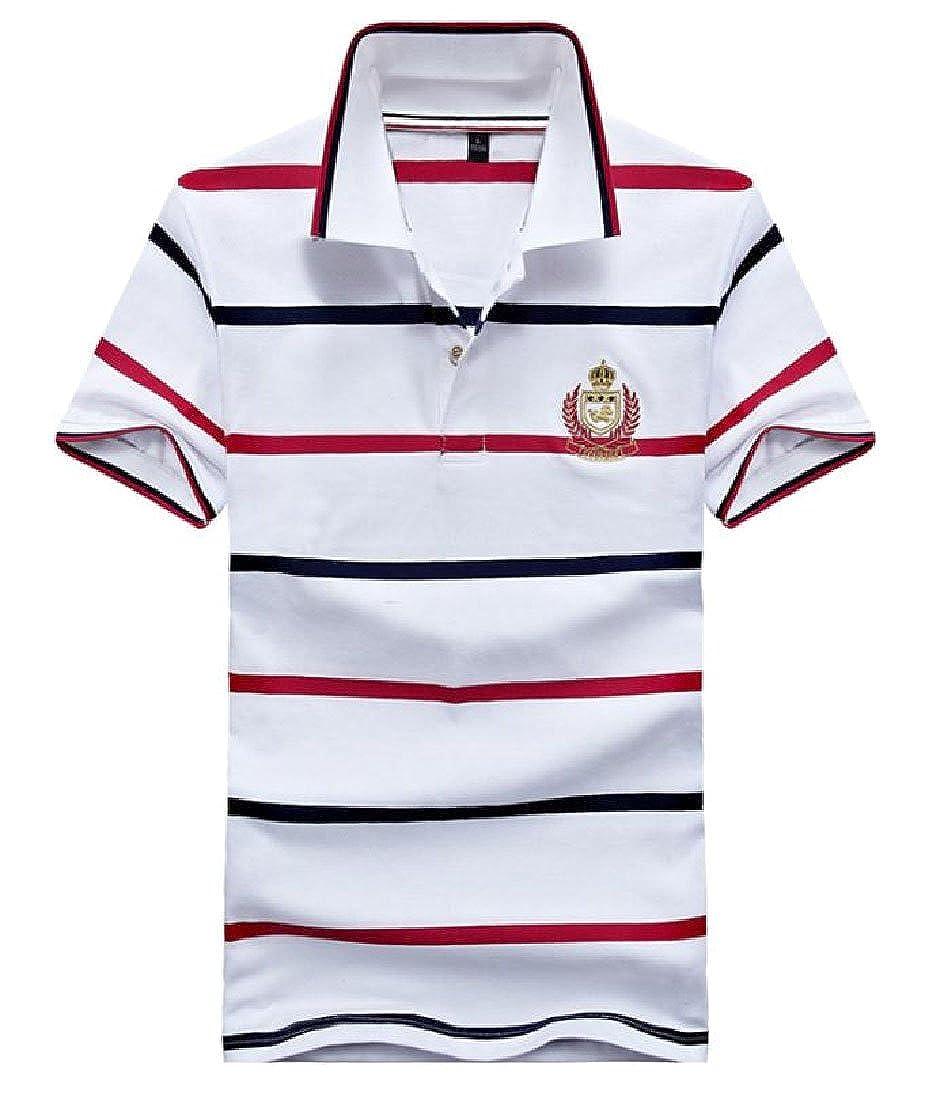 Tingwin Mens Stripe Short Sleeve Basic Cotton Summer Pique Polo Shirt