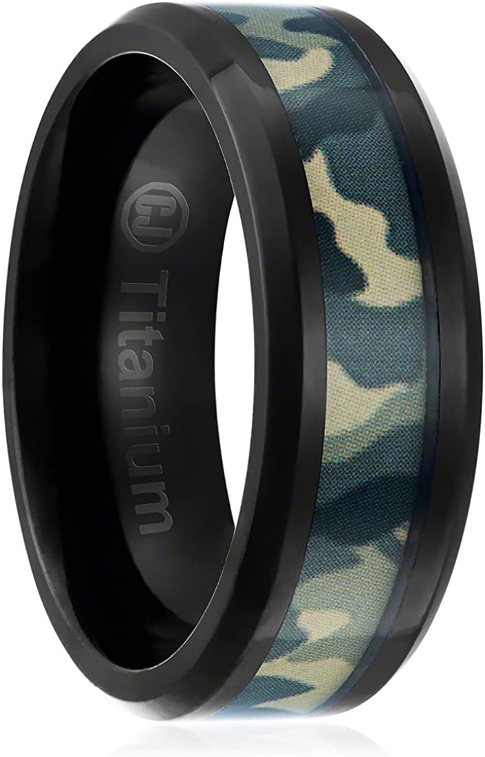 Black Plated Wedding Band with Green Military Camouflage Inlay 8MM Comfort Fit Titanium Camo Ring Beveled Edges