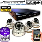 VENTECH POE Security Camera System 8CH NVR 1080P CCTV Kit with 4 Dome Cameras Outdoor (2.0MP) 2TB H-Drive, Easy Remote Smartphone Access,100ft Night Vision