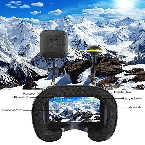 Leoie 5.8G 40CH 4.3 inch 2000mA Built-in Battery DVR Diversity FPV Goggles RC Model LS-008D