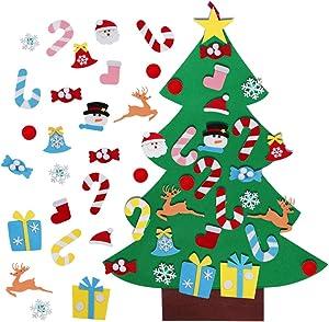 AerWo 3ft DIY Felt Christmas Tree Set + 26pcs Detachable Ornaments, Wall Hanging Xmas Gifts for Christmas Decorations