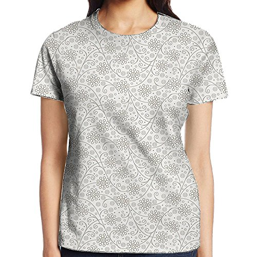 WuLion Shabby Chic Flower Branch with Curved Lines Ornamental Nature Elegance Pattern Women's 3D Print T Shirt XL White