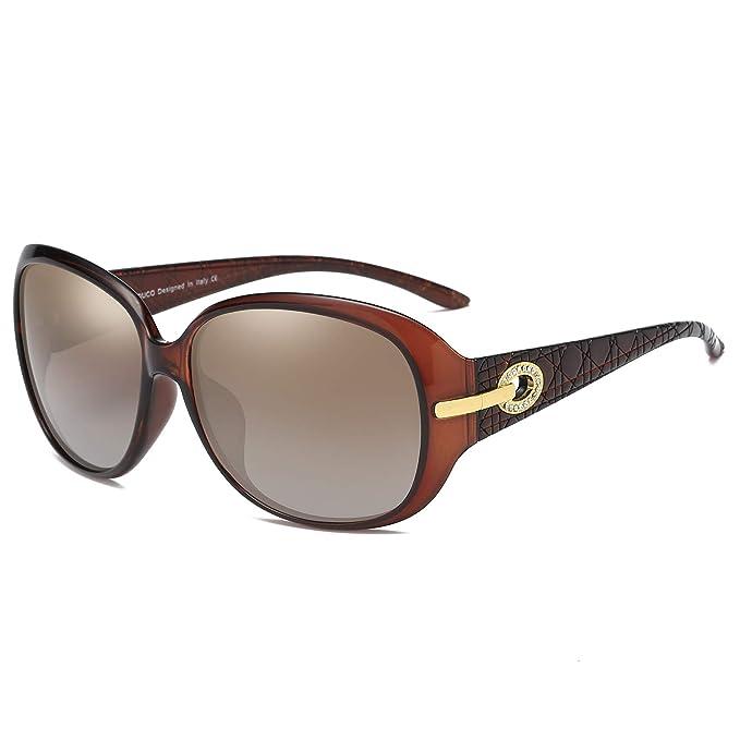 Duco Mujer Gafas de sol Classic Fashionable Ladies con lentes polarizadas de gran tamaño 100% protección UV 6214: Amazon.es: Ropa y accesorios
