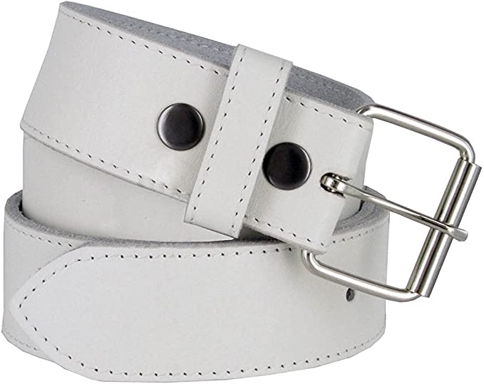 Hagora Mens Simple Plain Real Leather Solid Color 1.5 Wide Snap In Buckle Belt