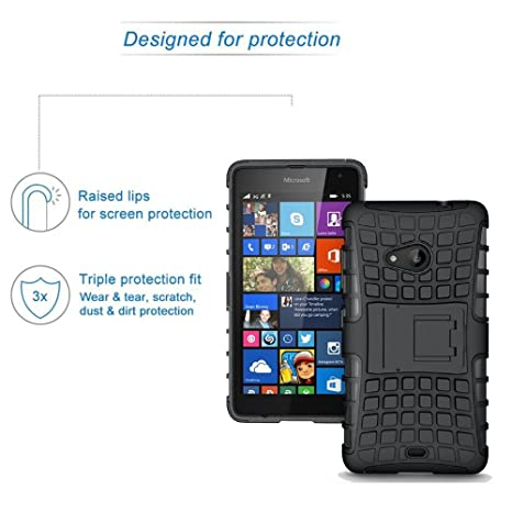 ROXEL Shockproof Back Cover for Microsoft Lumia 540 Hybrid Kickstand Back  Case Defender Cover - Black