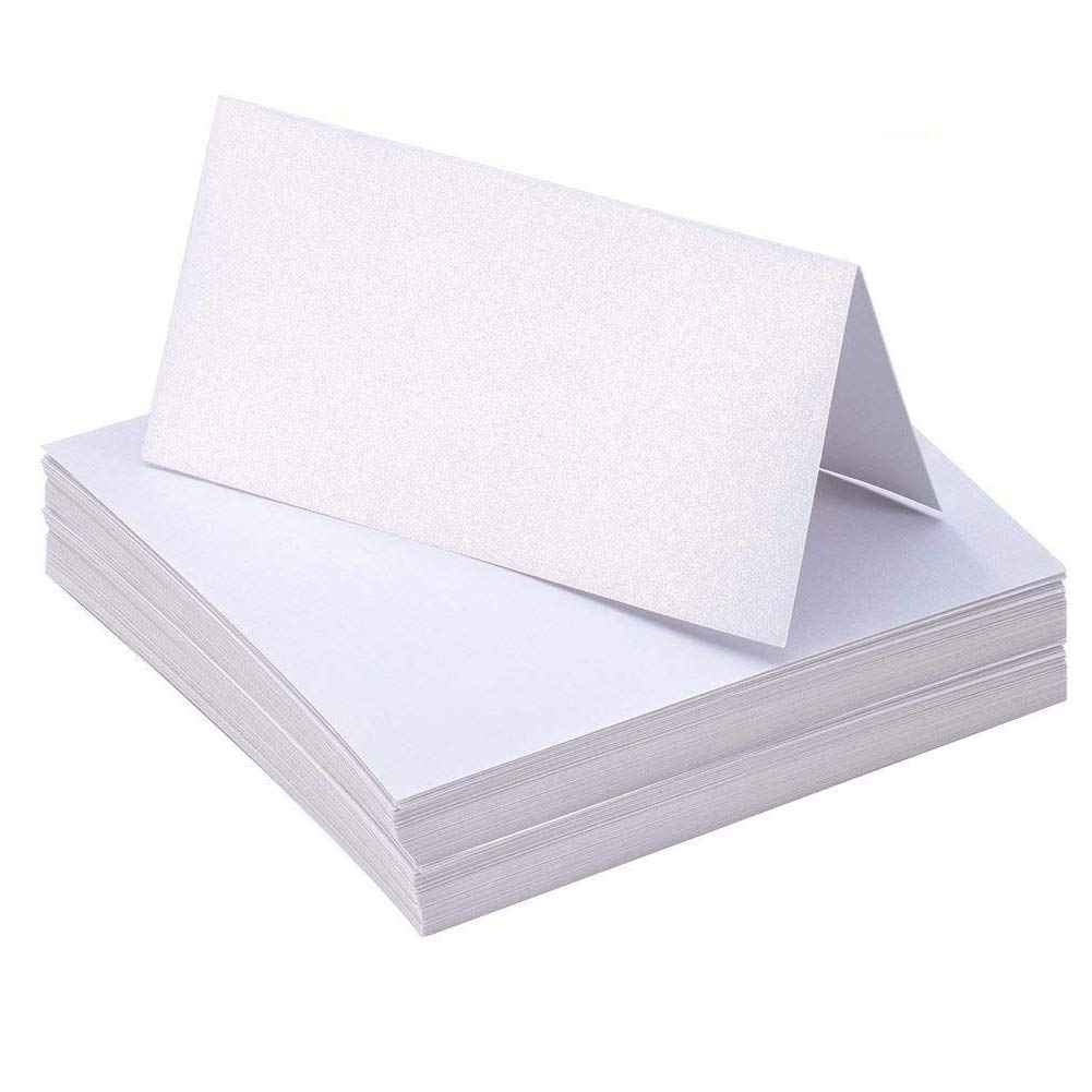 A+Selected 100 Pieces Foldable Name Place Cards for Table Folded Small Place Card Perfect for Wedding Banquets Dinner Hotel Events - Pearly Lustre White