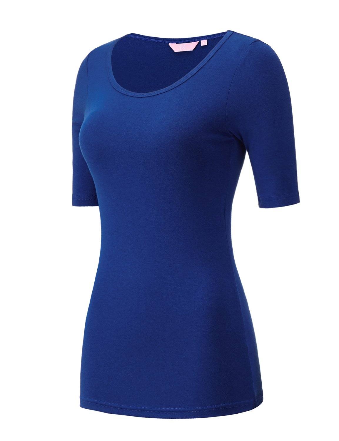 Regna X Love Coated Blue ComfortSoft Cami Boat Neck Long Sleeve T-Shirts,Scoop_Blue,XX-Large Plus