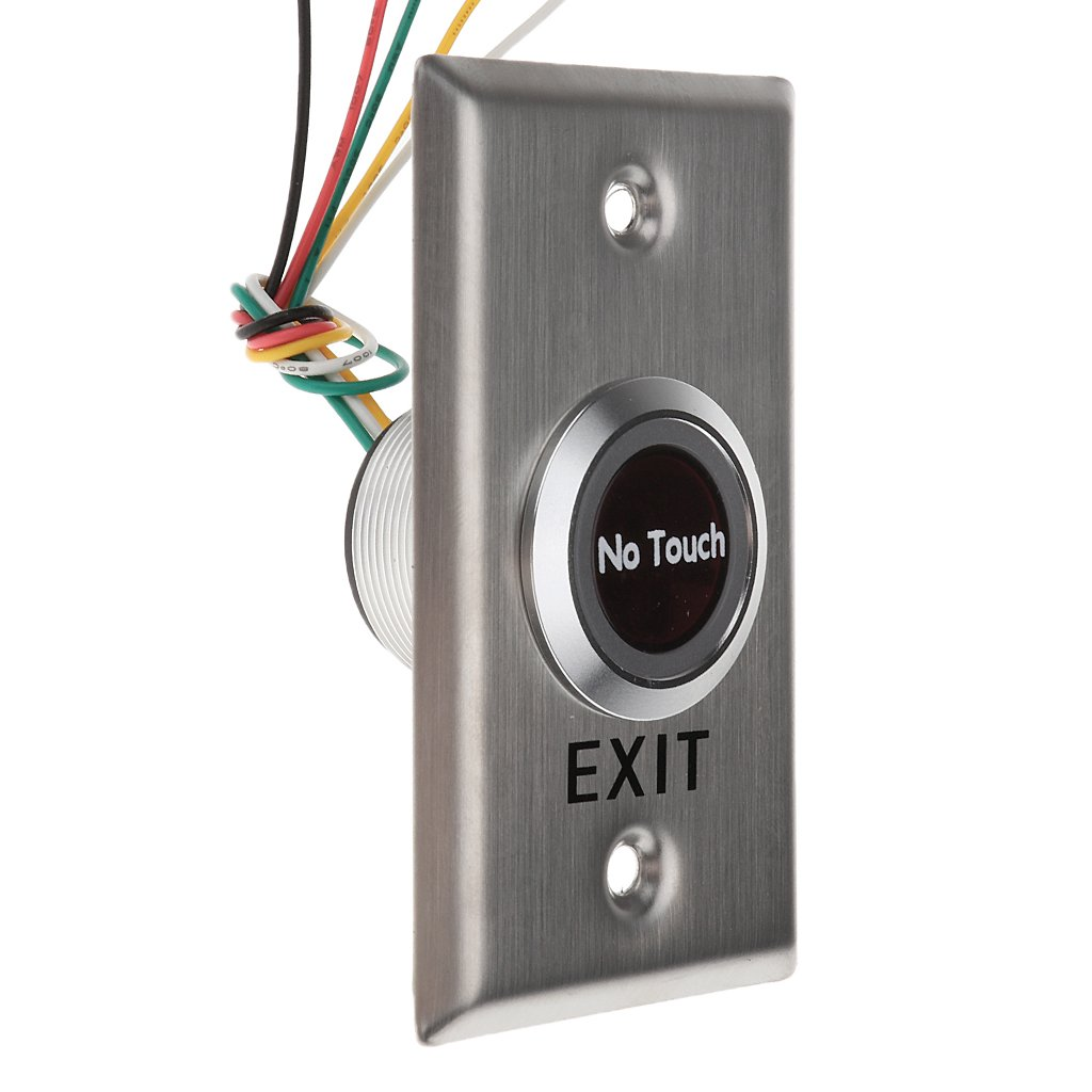 Baoblaze LED Backlight Entry Access Control, 12V DC Door Infrared No Touch EXIT button switch Sensor, Stainless Steel Material #SNT50