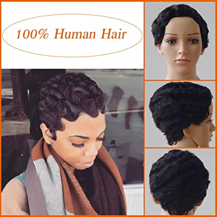 Pelucas Pelo Corto Mujer Cabello Natural Humano 100% Remy Corto Liso Brasileño Peluca Sedoso y