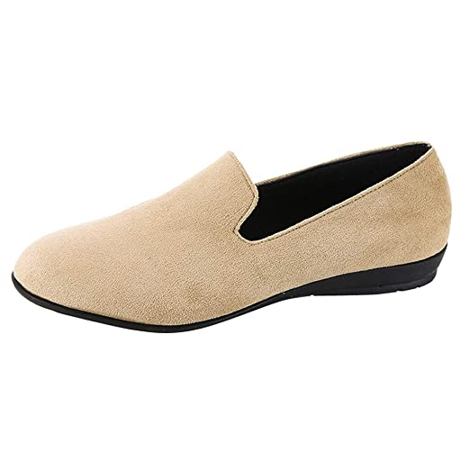 eb6cb21d16786 GoodLock Women Fashion Flat Single Shoes Ladies Leisure Suede Slip-On Shoes  Peas Round Toe Boat Shoes