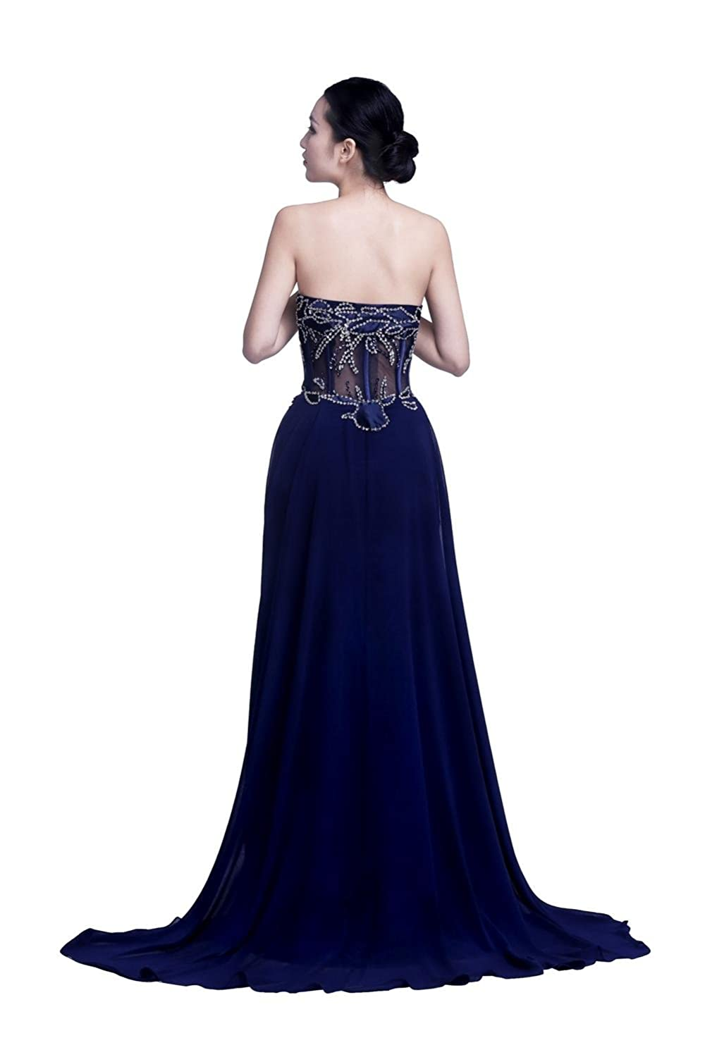 YiYaDawn Women's Long Evening Ball Gown Formal Dress with Side Split