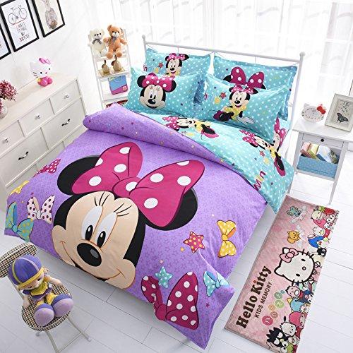 Ln 4 Piece Kids Girls Cute Purple Teal Blue Minnie Mouse Duvet Cover Full Sized Set, Adorable Mickey Mouse Themed Bedding Disney Pattern Mini Pink Polka Dot Bow Stars Cartoon (Mini Duvet Set)