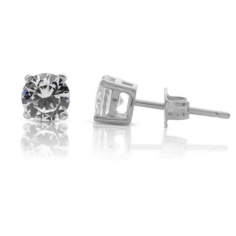 Brilliant Round Ideal Cut Stones 5.25mm Waldenn Rhodium Plated Dazzling CZ Stud Earrings 13167 Model ERRNGS