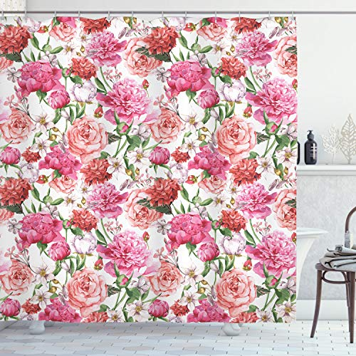 Ambesonne Watercolor Flower Shower Curtain, Victorian Floral Pattern Painting Style Print with Peonies and Roses, Cloth Fabric Bathroom Decor Set with Hooks, 70