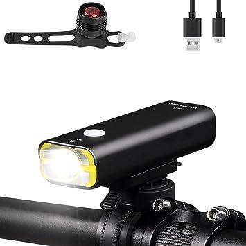 Laluztop Luz Delantera,Luz Bicicleta USB Recargable y Luz Trasera ...
