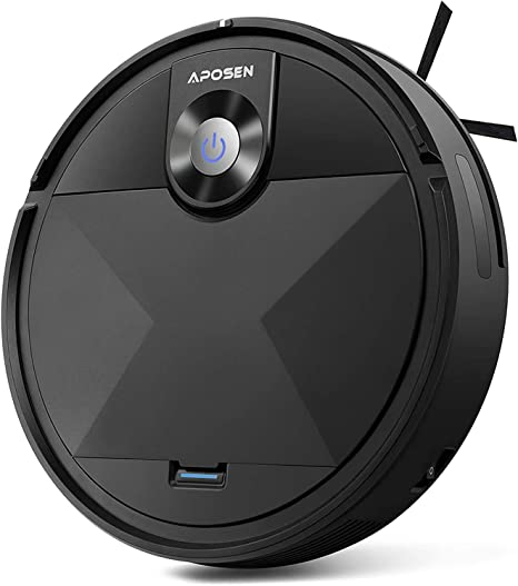 APOSEN Robot Aspirador, 1500Pa Aspiradora Robotico de Navegación con Protección de Sensor Inteligente, 100minutos/Carga Automática/Limpieza Silenciosa, para Pelo Mascotas, Piso Duro, Alfombra, A200: Amazon.es: Hogar