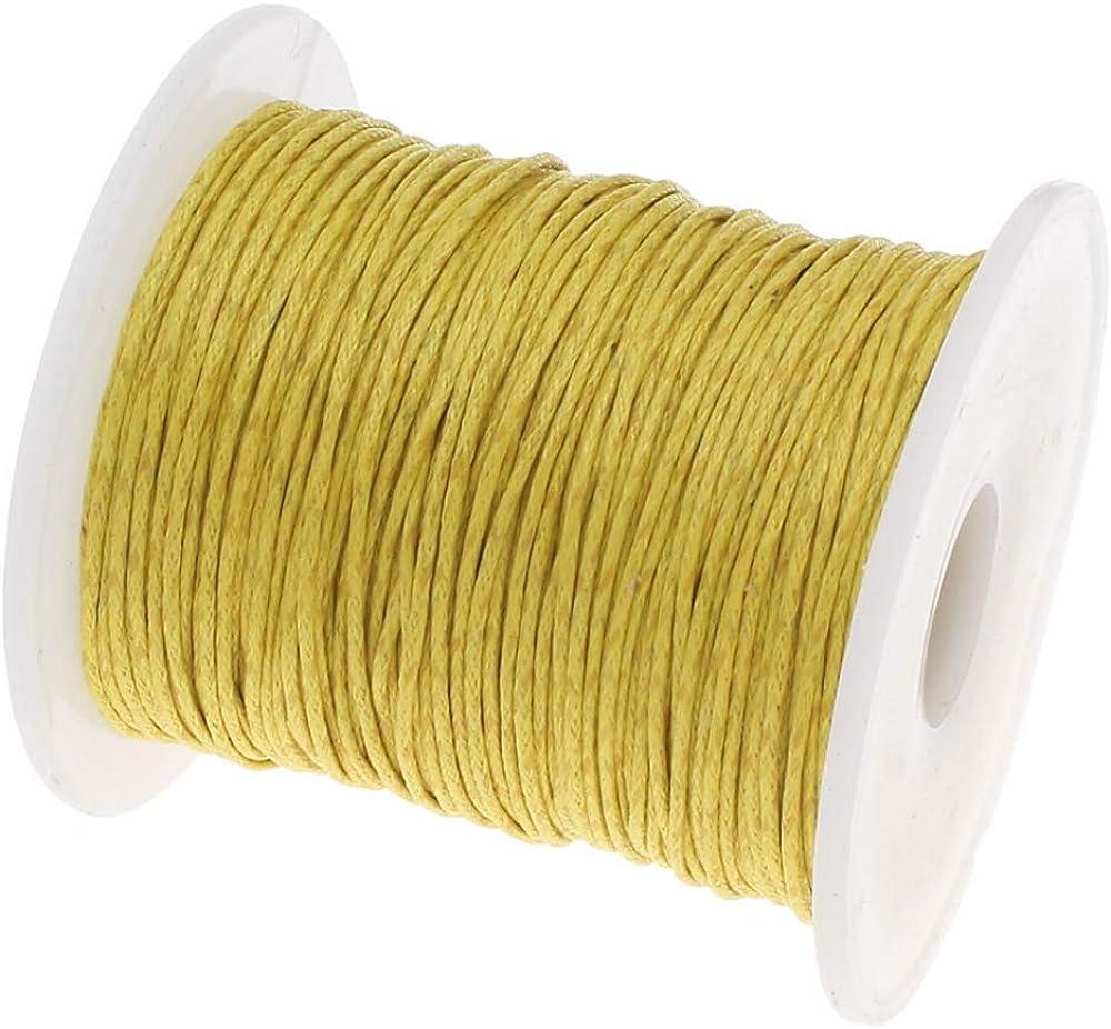 My-Bead Cordones de Algodón Encerado Trenzado diámetro Ø 1mm Rollo 90 Metro Amarillo para Pulseras y Cadenas y Manualidades DIY: Amazon.es: Joyería