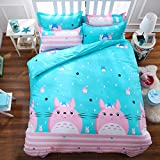Bed Set Bedding Sets 4pcs/Set One Duvet Cover No Comforter Two Pillow Cases One Flat Sheet Twin Set 59''x78'' Size Totoro Cat Design for Kids Adults Teens Sheet Sets (Twin, Totoro Cat)