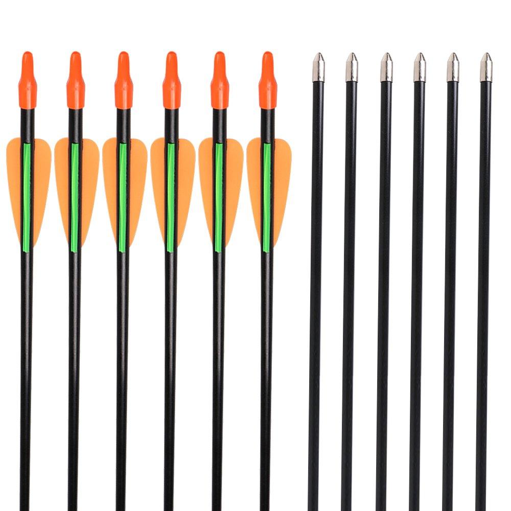 Huntingdoor Lot de 12 flèches de tir à l'arc en Fibre de Verre 7mm pour débutant