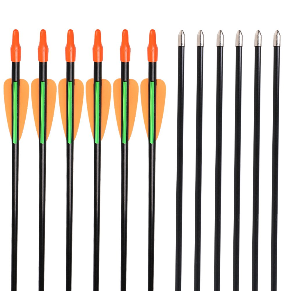 Huntingdoor 28 Inch Fiberglass Arrows Youth Target Practice Arrows Archery Shooting Fun Game Gift Arrows 7mm for Recurve Bow 12 Pack