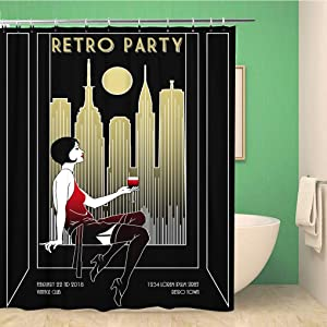 rouihot 72x72 Inches Shower Curtain Set with Hooks Retro Party Invitation Handmade Drawing Vintage Minimalist Style Art Deco Flapper Home Decor Waterproof Polyester Fabric Bathroom Curtains