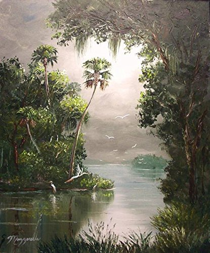 Imagekind Wall Art Print entitled Misty Southern River Oil Painting by Mazz Original Paintings | 24 x 29 - Outsider Art Original Painting
