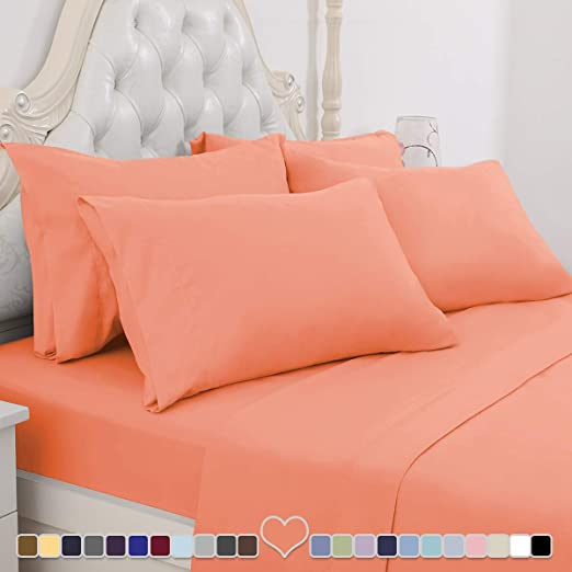 6 Piece Hotel Bed Sheets Set Ultra Soft 1800 Thread Count Deep Pocket Full Size